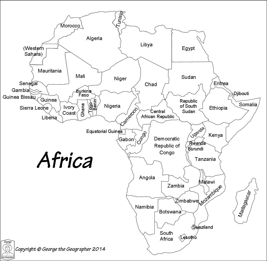 Map Of Africa Printable Black And White  Printable Maps