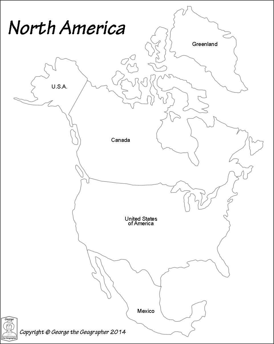 North America Blank Political Map.Outline Base Maps