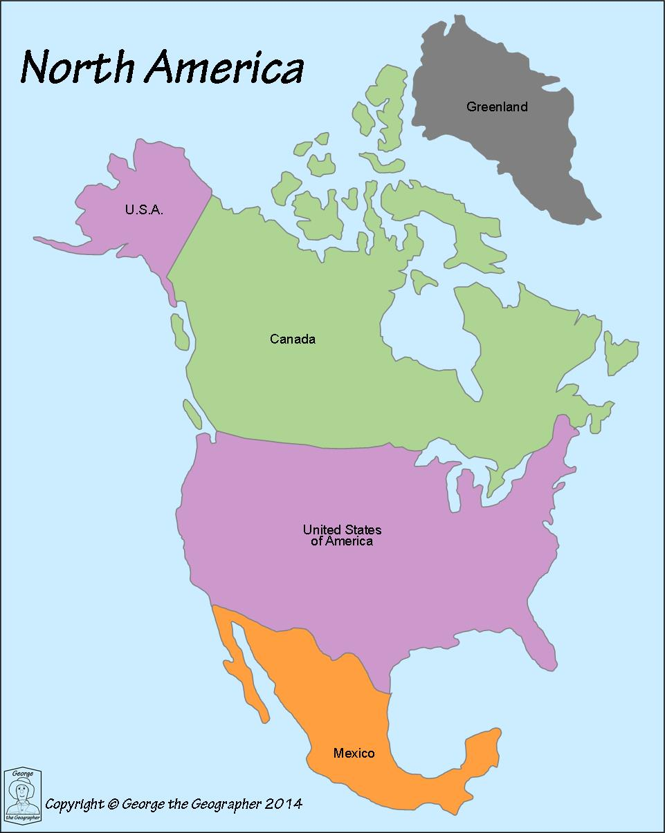 Color Map Of North America.Outline Base Maps