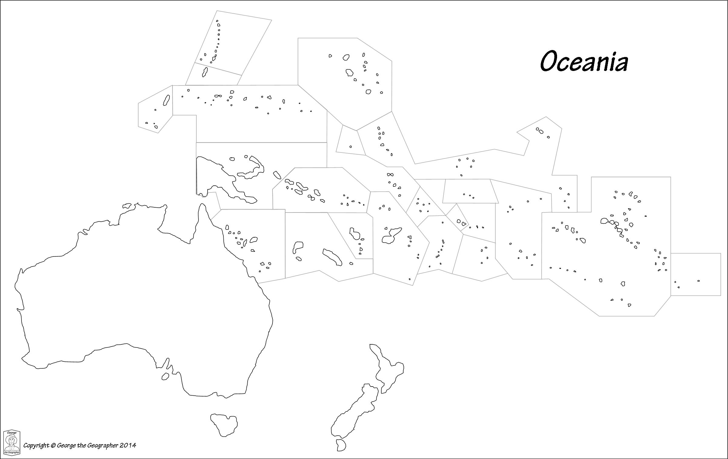 Blank Map Of Oceania Black and white outline map