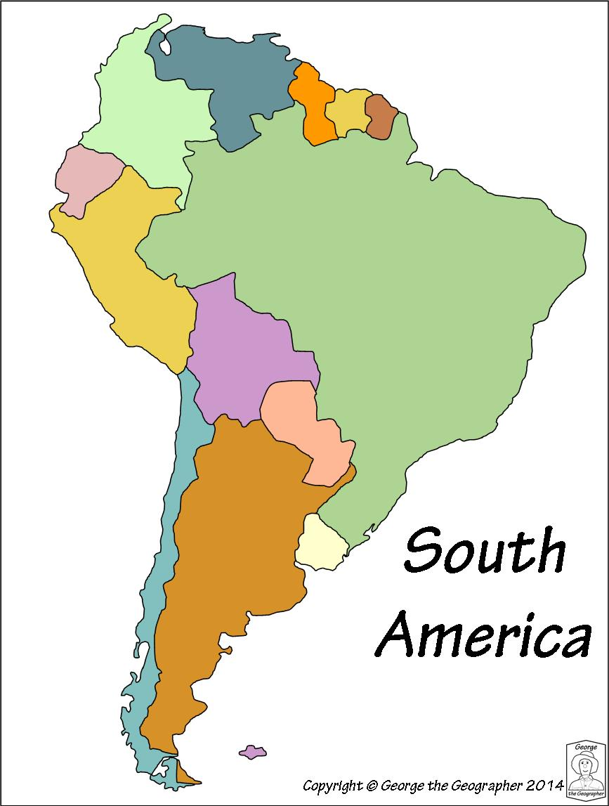 South America Map No Names.Outline Base Maps
