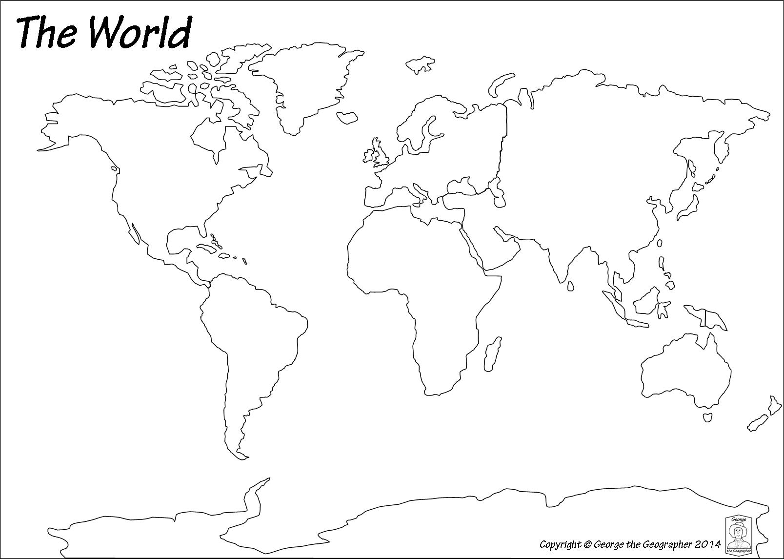 Outline Base Maps - World map continents and oceans black and white